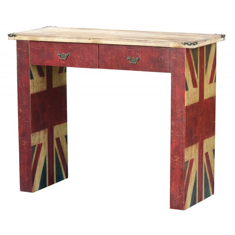 Vintage Union Jack Distressed Wooden Desk Console Table ORT-0009
