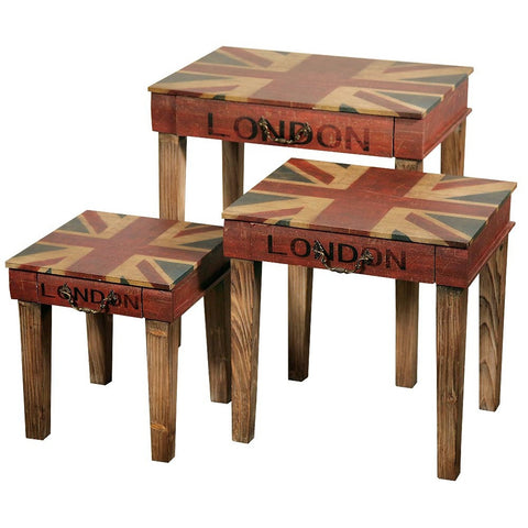 Vintage London Print Union Jack Distressed Wooden Nest of Tables ORT-0013