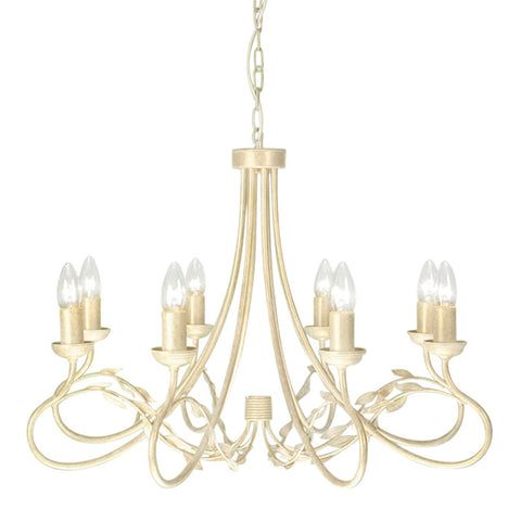 Elstead Olivia 8 Light Ivory/Gold Chandelier OV8 IVORY/GOLD