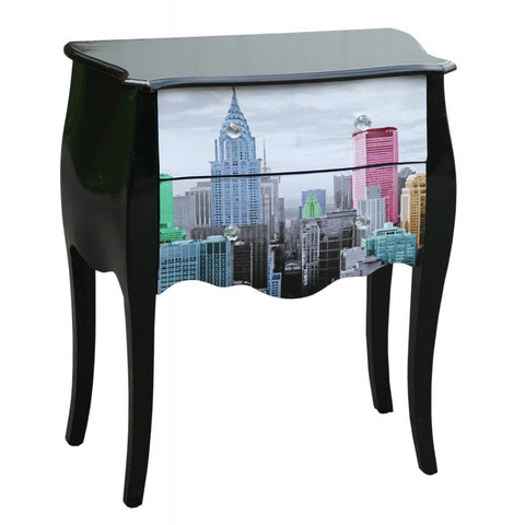 Urban Chic Commode High Gloss New York City 2 Drawer Chest of Drawers PC11010