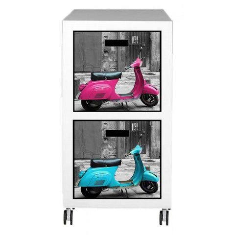 Urban Chic Retro Style Vespa Moped 2 Drawer Chest on Wheels PC11025