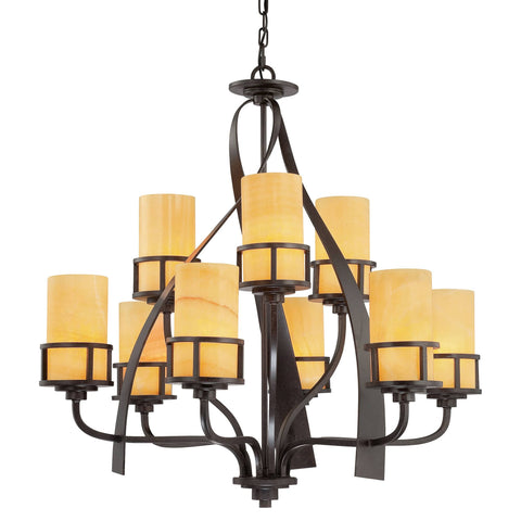Quoizel Kyle 9 Light Bronze Onyx Glass Shade Chandelier QZ/KYLE9