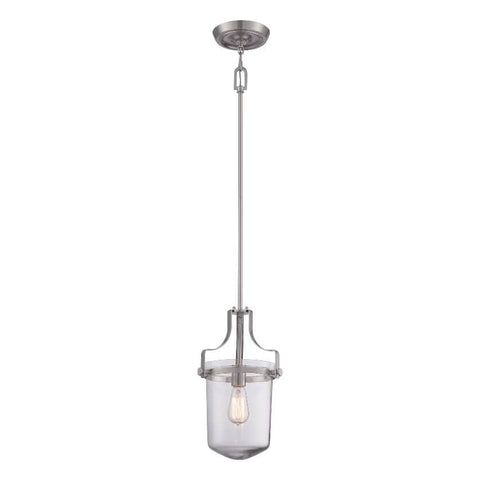Quoizel Penn Station 1 Light Brushed Nickel Pendant QZ/PENNSTAT/S BN