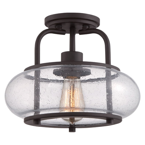 Quoizel Trilogy 1 Light Bronze Glass Semi Flush Light QZ/TRILOGY/SF/S