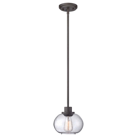 Quoizel Trilogy 1 Light Mini Bronze Glass Pendant Light QZ/TRILOGY/MP