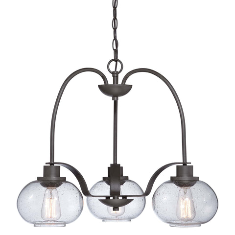 Quoizel Trilogy 3 Light Bronze Glass Dome Chandelier QZ/TRILOGY3