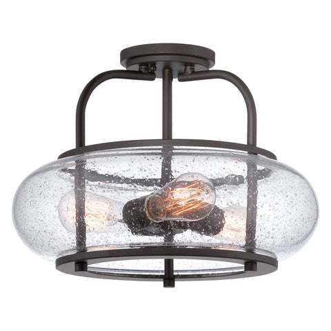 Quoizel Trilogy 3 Light Bronze Glass Semi Flush Light QZ/TRILOGY/SF/M