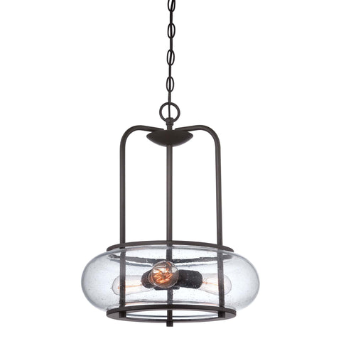 Quoizel Trilogy 3 Light Old Bronze Glass Pendant Light QZ/TRILOGY/3P