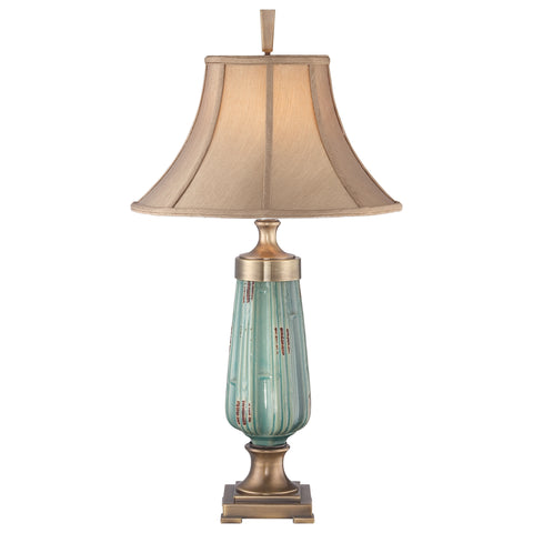 Quoizel Monteverde 1 Light Ceramic Glaze/Aged Brass Table Lamp QZ/MONTEVERDE