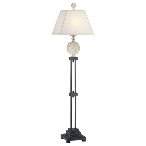Quoizel Palmetta 1 Light Silver/Black/Antique Ivory Floor Lamp QZ/PALMETTA/FL