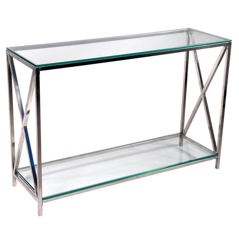Contemporary Metal Frame Glass Top Console Table R1-1102