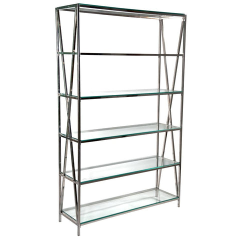 Modern Chrome Set of Shelves with Glass Top Shelves 202cm Height