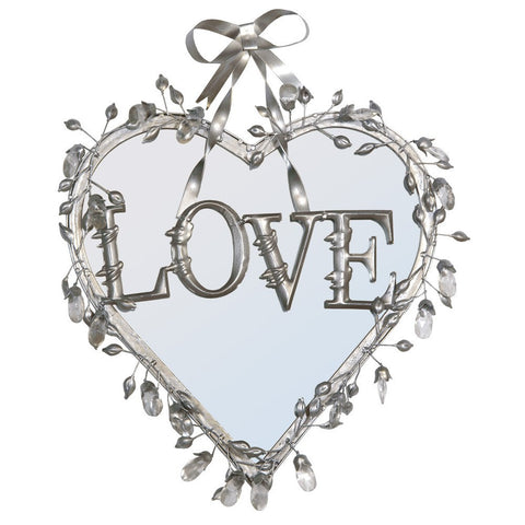 Antique Silver Love Heart Mirror with Crystals and Bow R1-1298R-AS