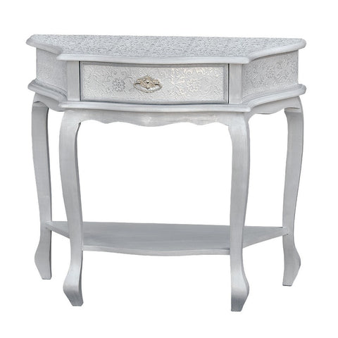 Chaandhi Kar White Silver Embossed Small Console Table R1-8348-300