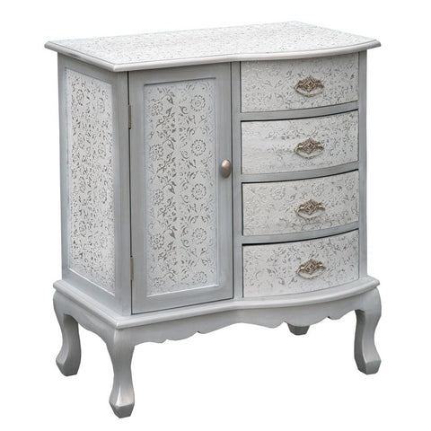 Chaandhi Kar Silver Embossed 4 Drawer 1 Door Chest of Drawers R1-8353-300