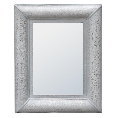 Chaandhi Kar White Silver Embossed Rectangular Wall Mirror R1-8358-300