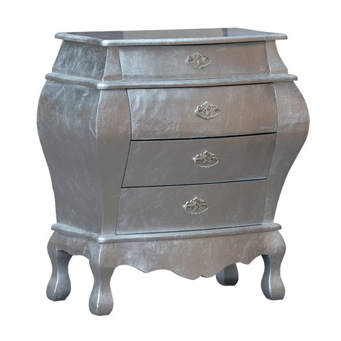 French Bombe Chest of 4 Drawers Glossy Silver Lacquered Bedside R1-8456