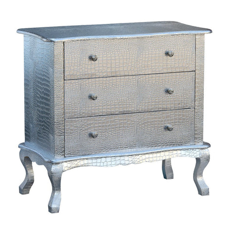 French Mock Croc Chest of 3 Drawers Embossed Silver Faux Leather R1-8600-303