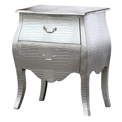 Mock Croc Bombe 2 Drawer Bedside Table Silver Embossed Faux Leather