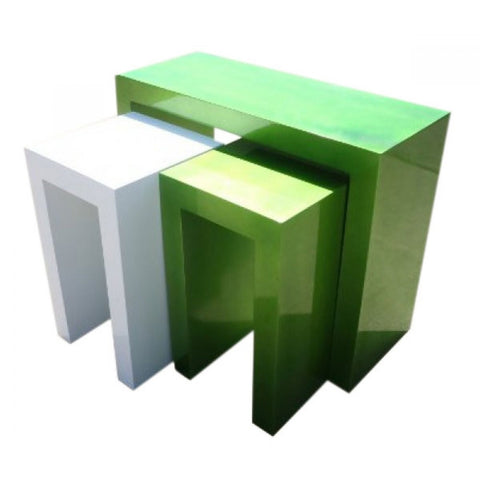 High Gloss Green White Table & 2 Stools Set R1-9122R