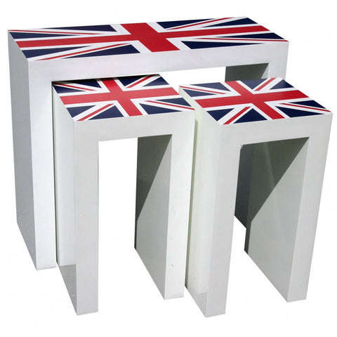 London Calling Union Jack Wooden Nest of Tables R1-9357