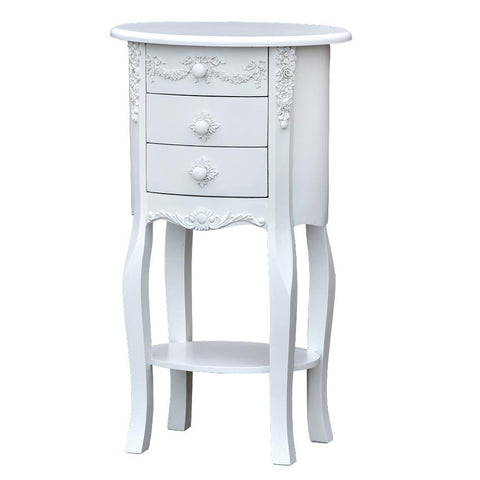 Boudoir Provence Pure White 3 Drawer Oval Bedside Table Nightstand R10-1088-WH