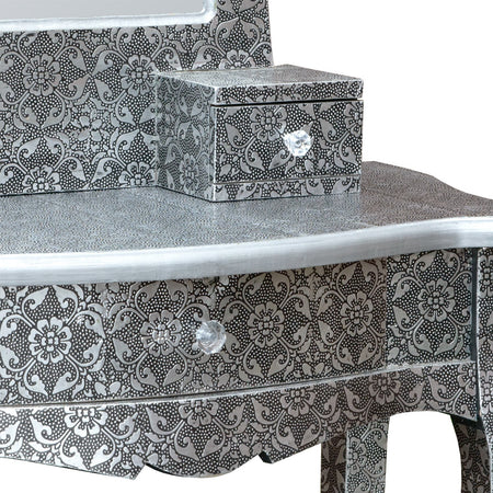 Chaandhi Kar Black-Silver Embossed Dressing Table with Mirror