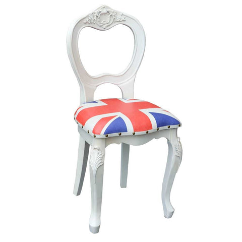 London Calling White Wooden Union Jack Chair TF-909-AW
