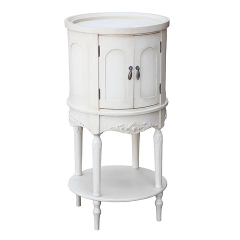 Antique Cream French Circular Bedside Table Cabinet with Doors TF10002-AC