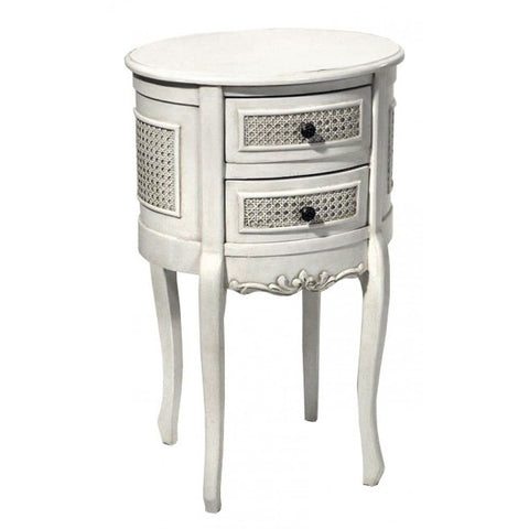 Boudoir Provence Antique White Round 2 Drawer Bedside Cabinet TFC9906-AW