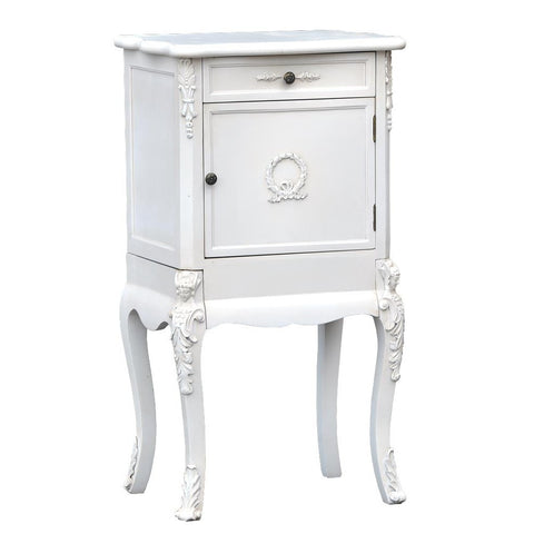 Laurel Wreath Carved Leg French White Bedside Cabinet Lamp Table TFC9916-AW