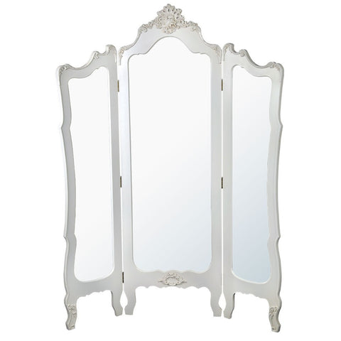 Floor Standing 3 Panel Mirror White French Boudoir Dressing Screen TFF7009-AW