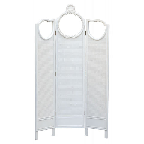 Boudoir Provence 3 Panel Rattan Dressing Screen Antique White TFF9801-AW
