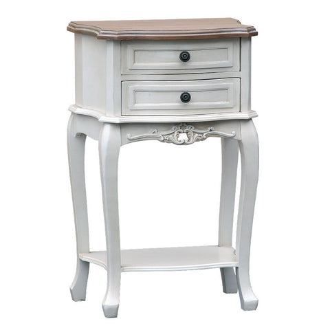 Appleby Antique White Bedside Table with 2 Drawers & Wooden Top TFG001-AW