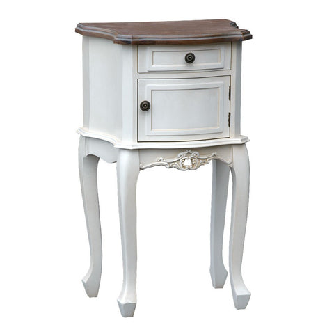 Appleby Antique White Bedside Table with Cupboard & Wooden Top TFG002-AW