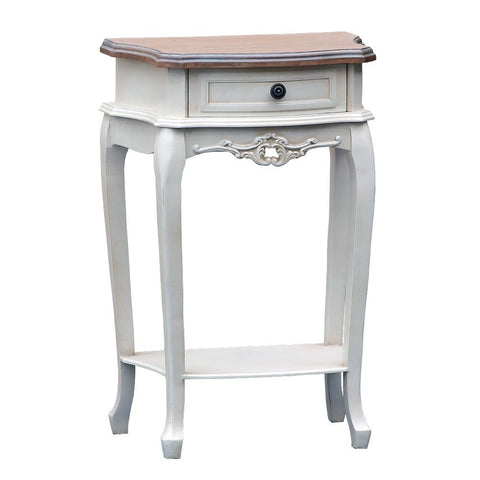Appleby Antique White Single Drawer Bedside Table with Wooden Top TFG003-AW