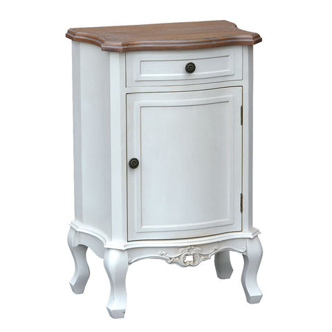 Appleby Antique White Bedside Cabinet with Cupboard & Wooden Top 48cm TFG005-AW