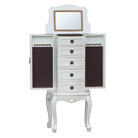 Appleby Armoire White 5 Drawer Vanity Cabinet with Mirror & Doors TFG006-AW Drawers Open