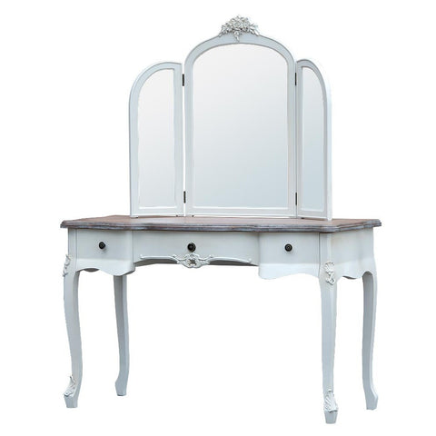 Appleby Antique White Dressing Table with 3 Drawers & 3 Panel Mirror TFG010-AW