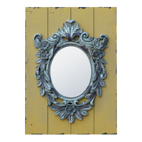 Circle Oval Mirror on Distressed Wood TFM219