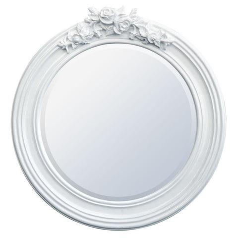 Round Rose Crest White Mirror TS1011-WH