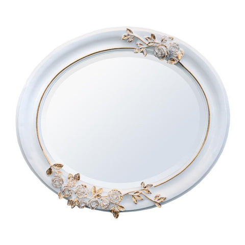 White and Gold Oval Mirror TS1013-WHGO