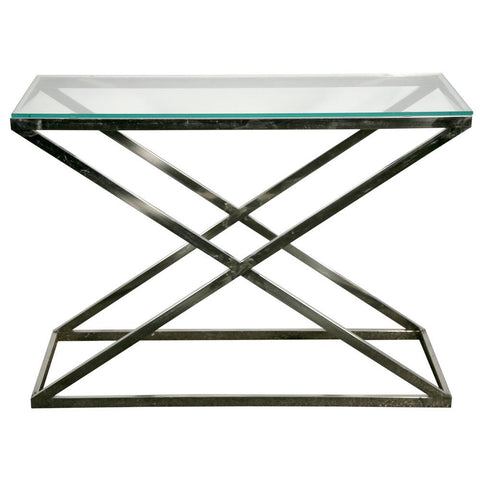 Contemporary Stainless Cross Leg Glass Top Venetian Table VEN-1171