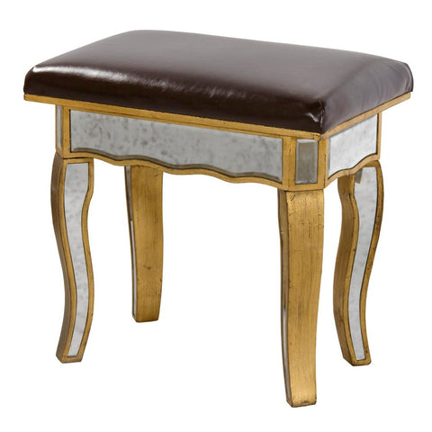 Mirrored Vintage Venezia Antique Gold Dressing Table Stool VEN-C-0259