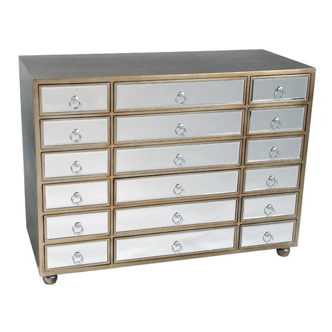 Art Deco Mirrored Cabinet in Silver with 18 Drawers VEN-C-10212