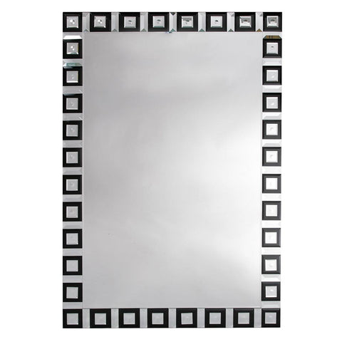 Contemporary Venetain Geometric Black and Clear Mirror VEN-W0053