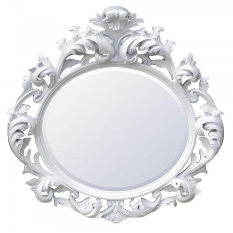 Baroque Oval Landscape Bevelled Wall Mirror In White