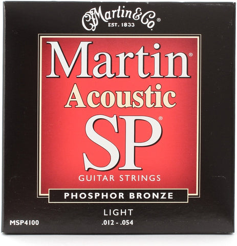 Martin MSP-4100 SP 92/8 Phosphor Bronze Light Acoustic Strings   upc 729789341004