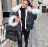 2020 MARY DENIM FAUX FUR JACKET BLACK WHITE