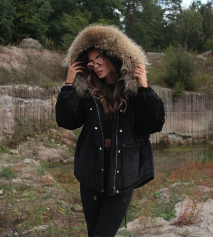 2020 CORD REAL FUR JACKET IN BLACK